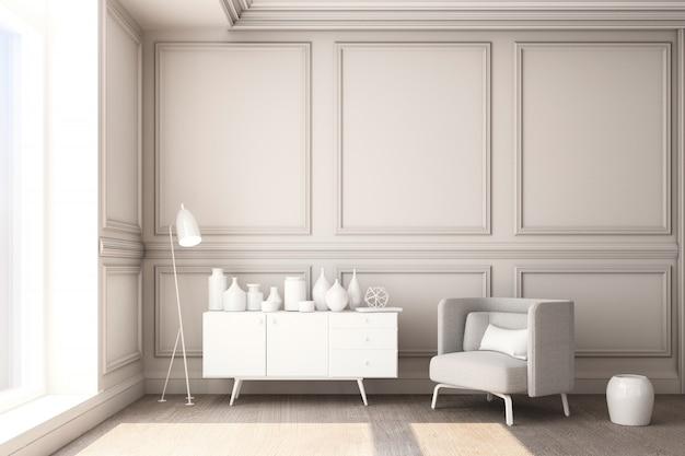 Иллюстрация перевода 3d живущей комнаты с роскошной белой классической панелью стены и белой мебелью Premium Фотографии