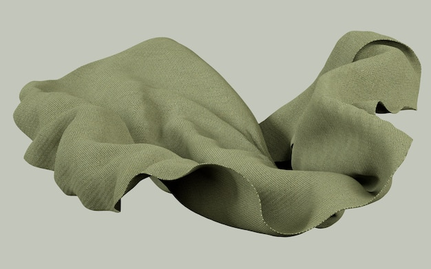 3d rendering illustration of soft cloth earthy green material on flat background Premium Photo
