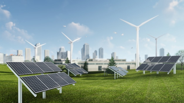 3d rendering illustration of windmill and solar cell sustainable energy Premium Photo