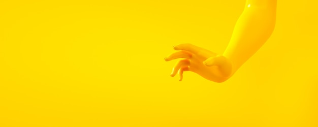3d rendering illustration of yellow hands. human body parts. Premium Photo