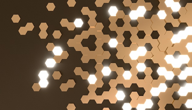3d rendering image of hexagon shape background Premium Photo