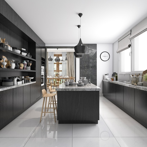 Free Online 3d Kitchen Design Tool: 3d Rendering Industrial Style Kitchen With Black Wood
