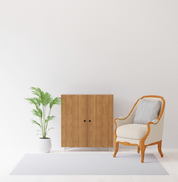 3d rendering of interior design with chair,cabinet,tree and carpet mock up of copyspace Premium Photo
