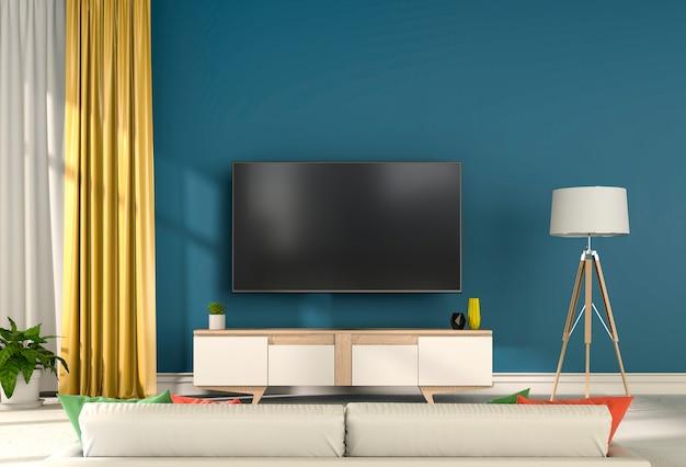 3d rendering of interior modern living room with smart tv Premium Photo