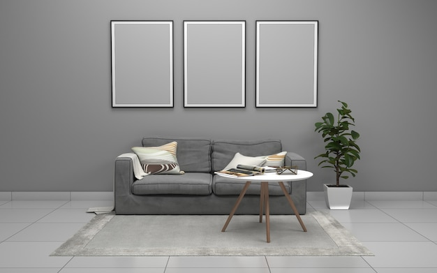 3d rendering of interior of modern living room with sofa - couch and table Premium Photo