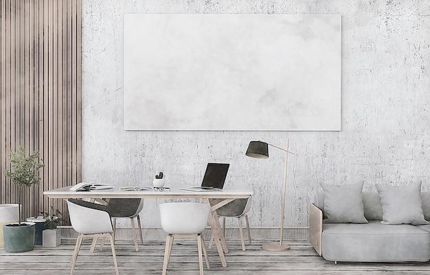 3d rendering of interior room with laptop computer Premium Photo
