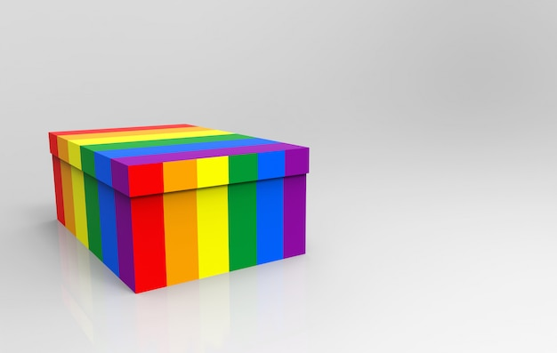 3d rendering. lgbt rainbow color textured empty paper box Premium Photo