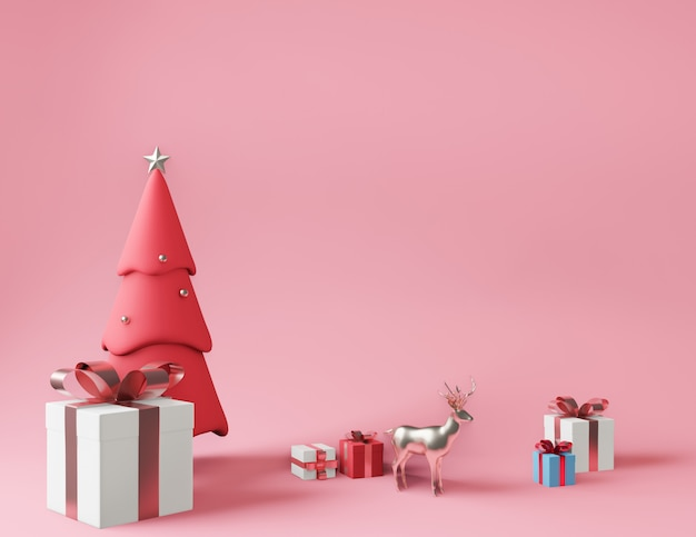 3d rendering little gift boxes and metallic pink christmas tree Premium Photo