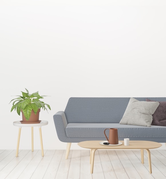 3d rendering, living room with sofa, plant and empty wall, hipster minimalism loft interior Premium Photo