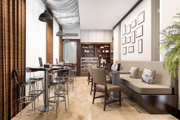 3d 렌더링 로프트 및 고급 호텔 리셉션 및 카페 라운지 레스토랑 프리미엄 사진