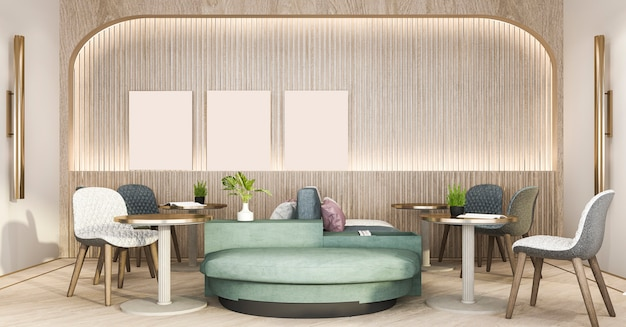 3d rendering loft and luxury hotel reception and cafe lounge restaurant Premium Photo