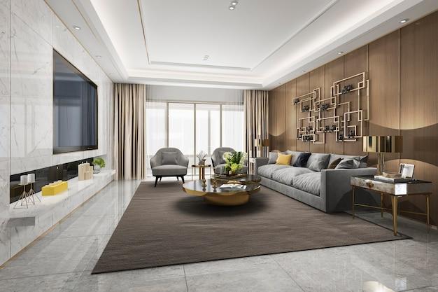 3d rendering loft luxury living room with bookshelf Premium Photo