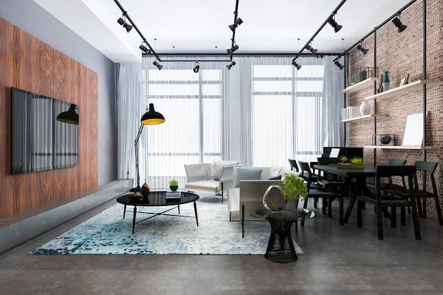 선반과 피아노와 벽돌 장식 3d 렌더링 로프트 럭셔리 거실 프리미엄 사진