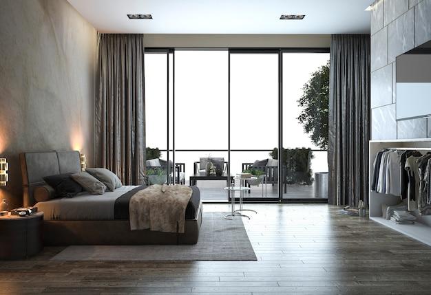 3d Rendering Loft Modern Bedroom Near Window View Photo