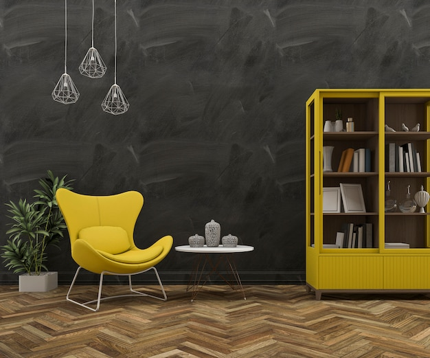 3d rendering loft wall with beautiful yellow armchair and furniture Premium Photo