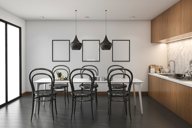 3d rendering loft wood kitchen with dining table and mock up frame Premium Photo