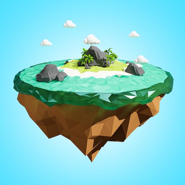 3d rendering. low polygonal island. adventure relax concept. Premium Photo