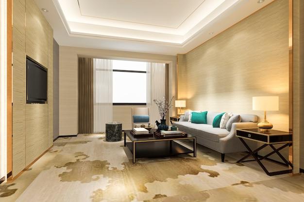 카펫과 스위트 호텔에서 3d 렌더링 고급 스러움과 현대 거실 프리미엄 사진