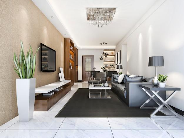부엌 근처 3d 렌더링 고급 스러움과 현대 거실 프리미엄 사진