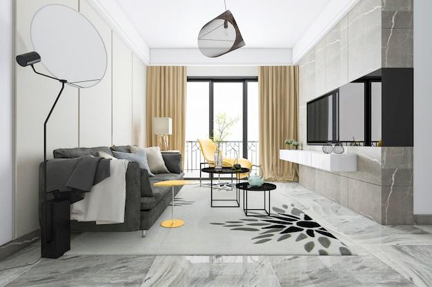 패브릭 소파와 3d 렌더링 고급 스러움과 현대 거실 프리미엄 사진