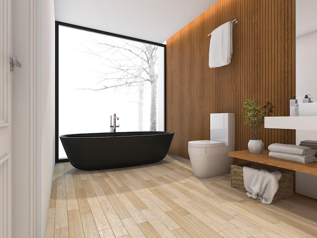 3d rendering luxury bathroom near window with bathtub Premium Photo