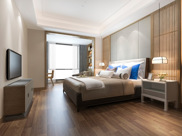 3d rendering luxury blue modern bedroom suite in hotel Premium Photo