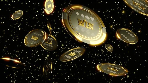 3d-рендеринг. роскошные казино чип золото и алмаз 3d-рендеринга изображения. покерные фишки падают Premium Фотографии