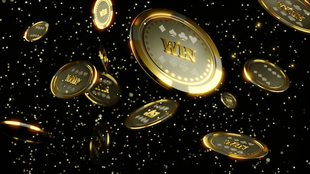 3d rendering. luxury casino chip gold and diamond 3d rendering image.  poker chips falling Premium Photo
