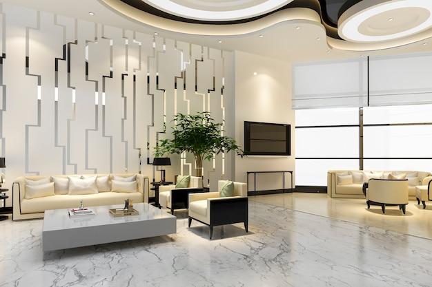 3d 렌더링 고급 호텔 및 사무실 리셉션 홀 및 라운지 레스토랑 프리미엄 사진