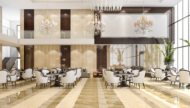3d 렌더링 고급 호텔 리셉션 및 라운지 레스토랑 프리미엄 사진