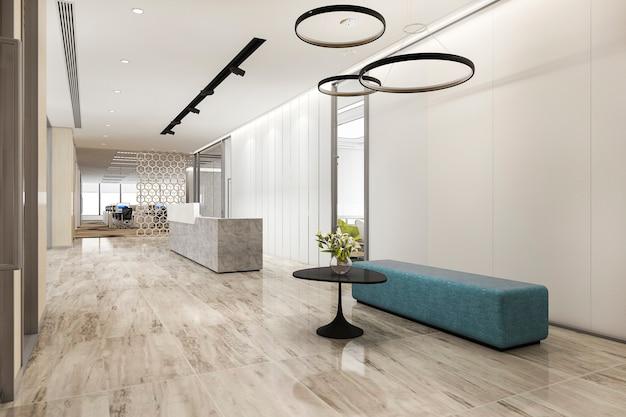 현대 최소한의 카운터와 3d 렌더링 고급 호텔 리셉션 홀과 사무실 프리미엄 사진