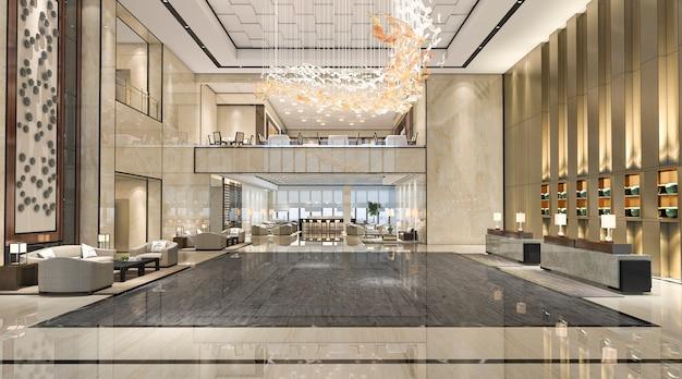 3d rendering luxury hotel reception hall and lounge restaurant Premium Photo