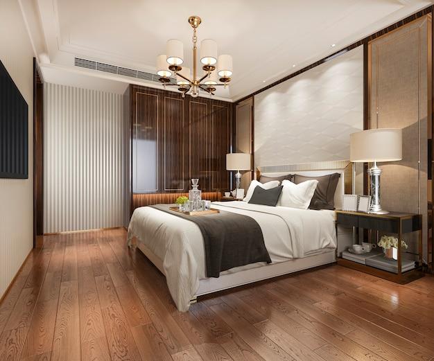 Premium Photo 3d Rendering Luxury Modern Bedroom Suite In Hotel With Wardrobe And Walk In Closet
