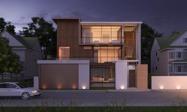 夜のシーンで公園と自然に近い3 dレンダリングの豪華なモダンなデザインの木造建物 Premium写真