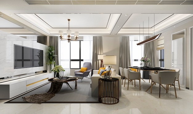 3d rendering of luxury modern dining room and living room Premium Photo
