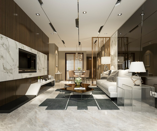 3d rendering of luxury modern kitchen dining room Premium Photo