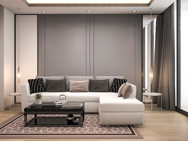 3d rendering luxury and modern living room with good design leather sofa Premium Photo