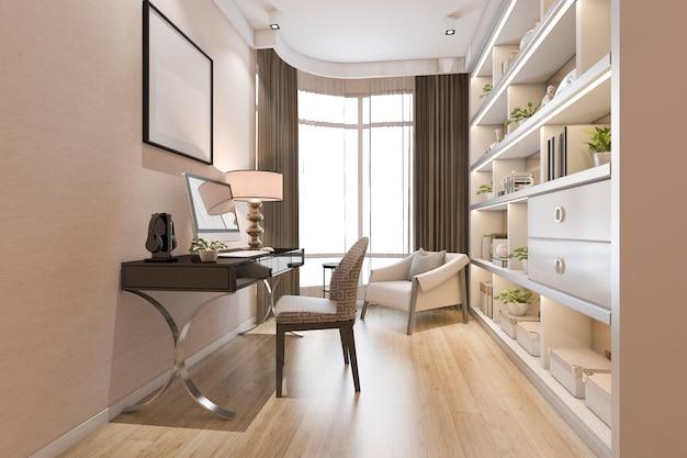 3d rendering of luxury modern office room Premium Photo