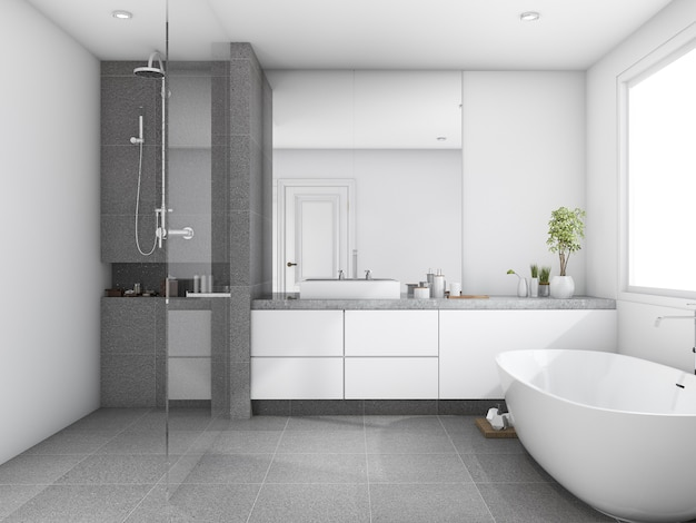 3d rendering luxury and modern style wood bathroom near window Premium Photo