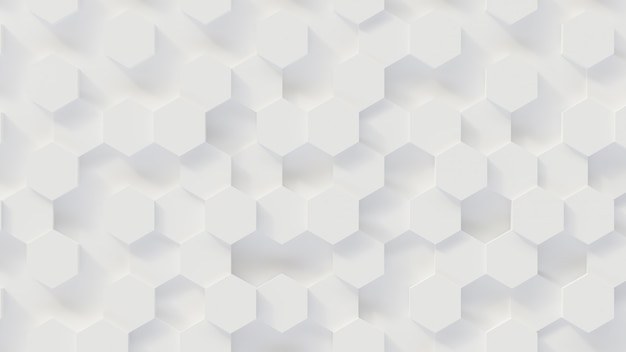 3d rendering luxury new background, white honeycomb hexagon pattern honeycomb, 3d illustration Premium Photo