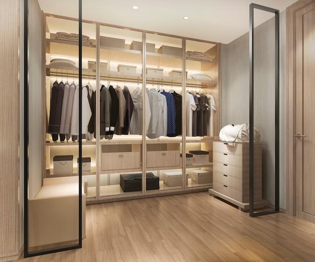 3d рендеринг роскошной скандинавской деревянной прогулке в шкафу с гардеробом Premium Фотографии