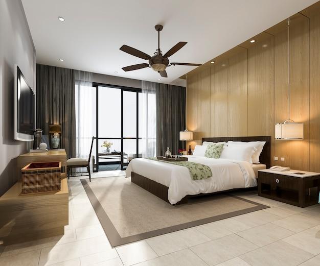 3d rendering luxury tropical bedroom suite in resort hotel and resort Premium Photo
