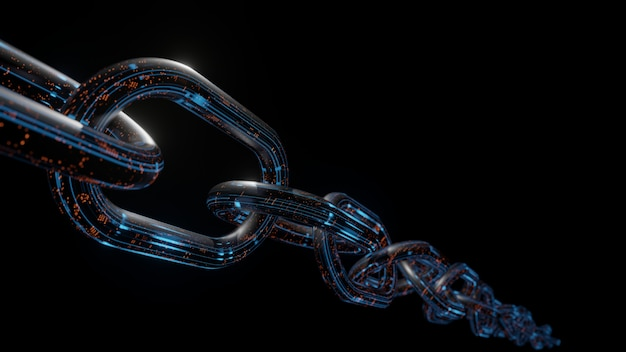 3d rendering of metal chains with digital data in glowing blue and orange color on dark background. Premium Photo