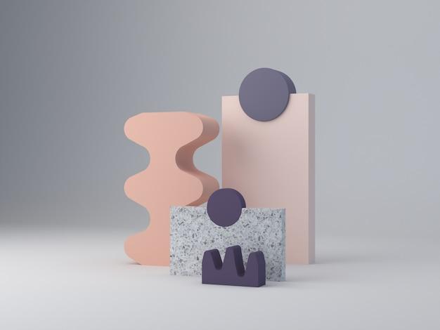3d-рендеринг, минимальный абстрактный фон, фиолетовый и пастельные цвета. минимальный пейзаж с текстурированными формами и подиумом. terrazzo слои и изогнутые формы, чтобы показать продукты. сцена с геометрическими формами. Premium Фотографии