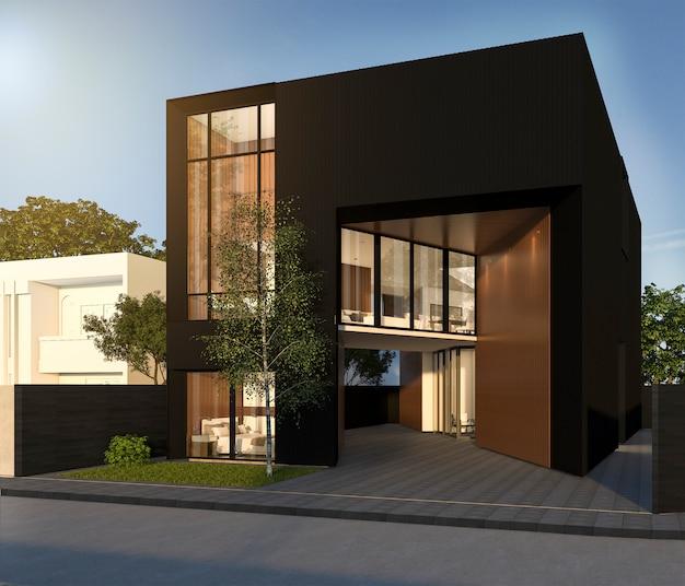 3d rendering minimal black cubic house in summer Premium Photo