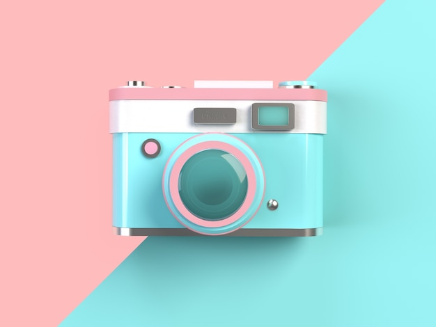 3d rendering minimal pastel camera on pink and turquoise for Camera minimal