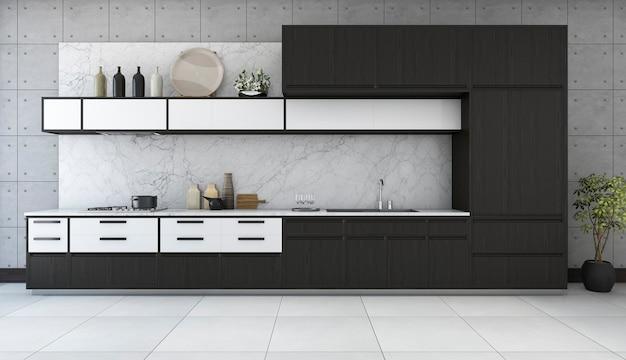 3d rendering minimal and retro kitchen in loft design Premium Photo