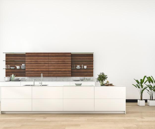 3d rendering minimal and retro kitchen in loft Premium Photo