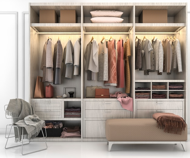 3d rendering minimal scandinavian wood walk in closet with wardrobe Premium Photo