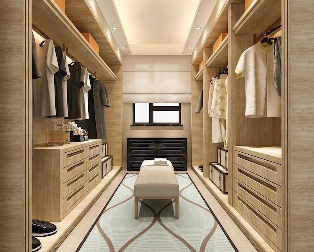 3d рендеринг минимальная скандинавская деревянная прогулка в шкафу с гардеробом Premium Фотографии